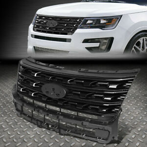 For 16 17 Ford Explorer Factory Oe Style Front Bumper Grill Grille Glossy Black