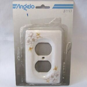 Vintage Angelo Double Outlet Wall Cover Plate Floral Ceramic White Flowers