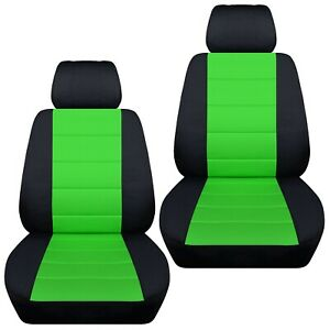 Front Set Car Seat Covers Fits Ford Fiesta 2011 2019 Black And Lime Green
