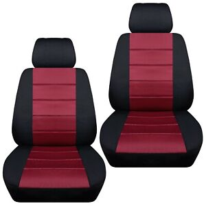 Front Set Car Seat Covers Fits Ford Fiesta 2011 2019 Black And Burgundy