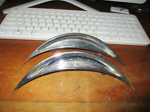 Clean Used 1955 1956 Pontiac Cheiftain Eyebrow Bezels Trim 1 Pair 519579