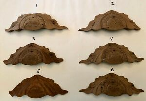 Set Of 6 Antique Victorian Ornate Hand Carved Wood Drawer Pull Handle Unfinished