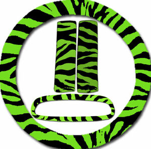 Steering Wheel Cover Seat Belt Covers Rear View Mirror Cover Green Zebra