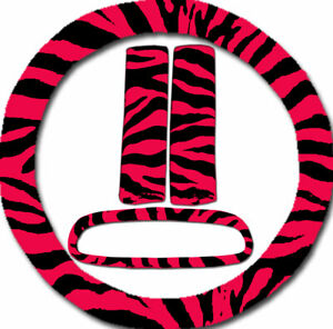 Steering Wheel Cover Seat Belt Covers Rear View Mirror Cover Red Zebra