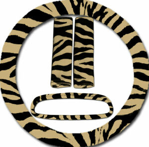 Steering Wheel Cover Seat Belt Covers Rear View Mirror Cover Tan Zebra