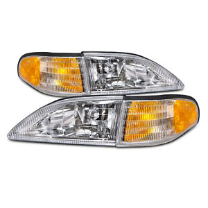 Cobra Style 4 Pc Headlight Set W Amber Corners Fits 1994 1998 Ford Mustang