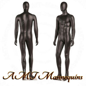 Male Full Body High End Mannequins Metal Stand Spray Painted Skin Black Skin