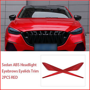 Sedan Abs Headlight Eyebrows Eyelids Trim 2pcs Red For 2017 2018 Mazda 3 Axela