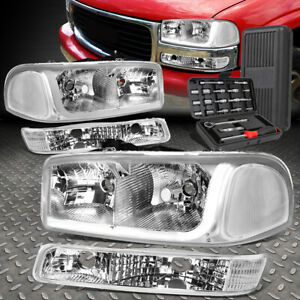 For 99 07 Gmc Sierra Yukon Led Drl Chrome clear Headlights Bumper Lamps tool Set