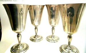 Four Antique Sterling Silver Lady Diana By Towle Wine Goblets