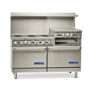 Imperial Range 60 Range Gas W 2 Convection Ovens 24 raised Griddle