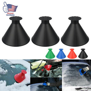 3x Magical Car Windshield Ice Snow Remover Scraper Tool Cone Round Funnel New