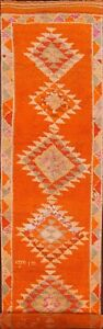 Vintage Geometric Moraccan Vibrant Orange 14ft Runner Rug Hand Knotted Wool 3x14