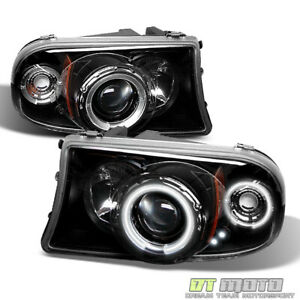 Black 1997 2004 Dakota Durango Ccfl Halo Projector Headlights W built In Corner