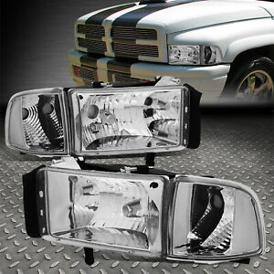 For 94 02 Dodge Ram 1500 2500 3500 Chrome Housing Clear Corner Headlight Lamps