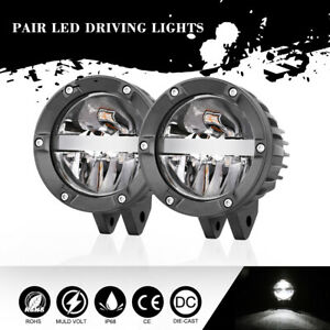 2pcs 4 Offroad Round Led Driving Light Bar Hi Low Beam Headlight Pods Truck 4wd