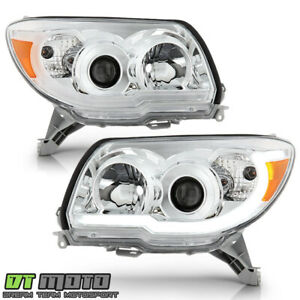 For 2006 2009 Toyota 4runner Chrome Led Tube Upgrade Style Projector Headlights