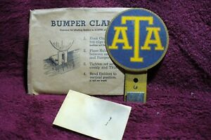 Vtg Nos 30s 40s 50 Ata Emblem Badge License Plate Bumper Trucker Topper Acessory