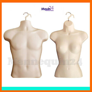 Set Of Male Female Torso Hanging Mannequins In Flesh Hollow Back Body Forms