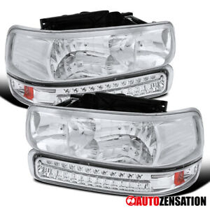 For 1999 2002 Silverado 2000 2006 Tahoe Clear Lens Headlights led Bumper Lamps