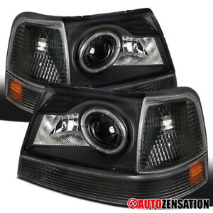 For 1998 2000 Ford Ranger Black Halo Rim Projector Headlights corner Lamps Pair