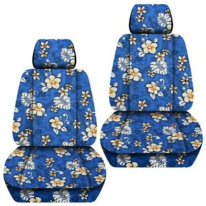 Front Set Car Seat Covers Fits 2007 2019 Honda Fit Hawaill Blue Flower