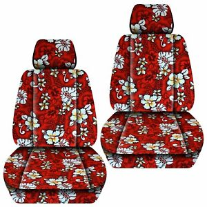 Front Set Car Seat Covers Fits 2005 2020 Toyota Tacoma Hawaill Red Flower
