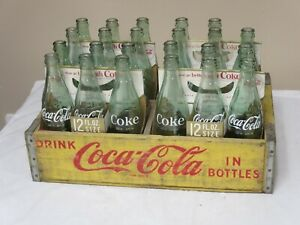 1960's COCA COLA WOOD CRATE + 4 SIX PACK 10 OZ BOTTLES DIFFERENT LOOKING BOTTLES