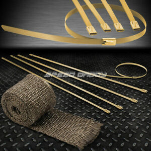 5ft 60 2 W Header Catback Exhaust Titanium Heat Wrap Stainless Gold Zip Tie