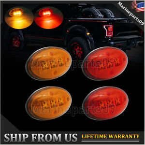 Us Shipping For Ford F350 F450 Red Amber Side Fender Marker Dually Bed Led Light