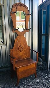Antique Victorian Oak Hall Tree Tiger Quartersawn Carved Bench Seat Halltree Old