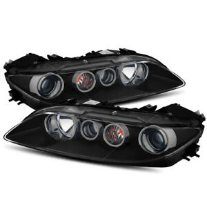 For 2006 2007 2008 Mazda 6 Black Projector Headlights Driver Passenger Sides