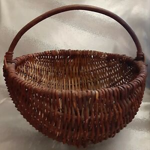 Vintage Gathering Basket Bent Wood Handle