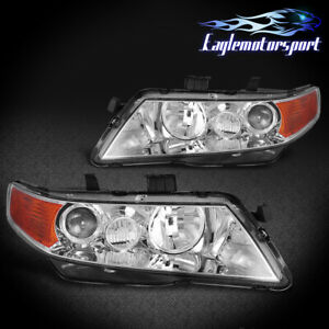 2004 2008 Acura Tsx Chrome Factory Style Projector Headlights Head Lamps Pair