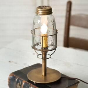 Country New Mason Jar Desk Lamp In Antique Brass Tin