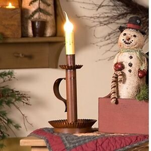 Primitive New Candlestick Accent Light In Distressed Rusty Tin