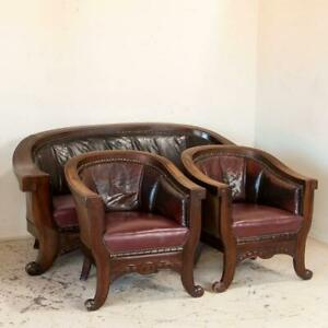 Antique Set Of 3 Vintage Leather Sofa And Pair Of Arm Chairs