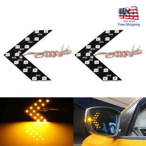 2x Car Auto Side Rear View Mirror Amber Led Lamp Turn Signal Light Accessories
