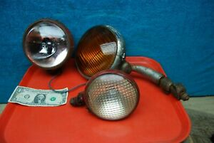 3 Pc Antique Vintage Farm Tractor Head Lights Rat Rod Steam Punk Yankee Metal