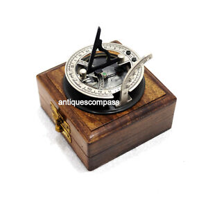 Collectible Vintage Antique Sundial Compass Maritime Marine With Wooden Box
