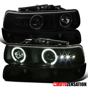For 99 02 Silverado 00 06 Suburban Tahoe Smoke Led Halo Headlights Bumper Lamps