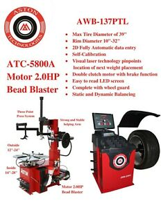 2 0hp Tire Changer Wheel Balancer Laser Combo Bead Blaster Three Point Press Sys