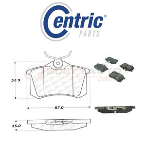 Centric Semi Metallic Brake Pads W Shims For 1989 1999 Peugeot 405 1 9l 2 0l Yl