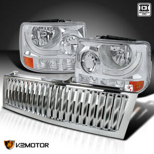 Fits 1999 2002 Silveardo Suburban Tahoe Clear Headlights chrome Hood Grille