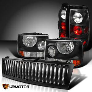 For 99 02 Chevy Silverado 1500 2500 Black Headlights tail Lamps vertical Grille