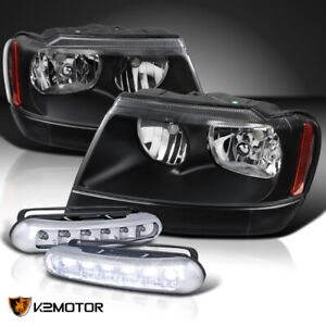 99 04 Jeep Grand Cherokee Black Clear Headlights Pair 3w 6 Led Drl Fog Lamps