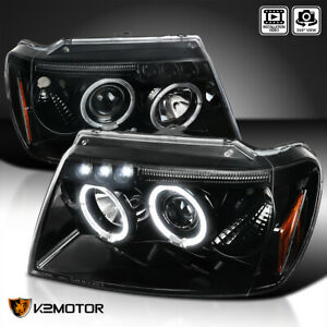 For 1999 2004 Jeep Grand Cherokee Jet Black Led Halo Projector Headlights Lamps