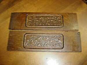 Antique Salvage Pair Pressed Pattern Panels With Acorns Leaves 1101