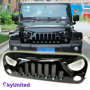 Fits Jeep Wrangler 2007 To 2017 Jk Front Grill Skull Style Grille Gloss W Mesh