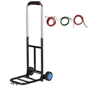 Folding Hand Truck Dolly Cart Heavy Duty Trolley With Bandage 2 Wheels 200lbs